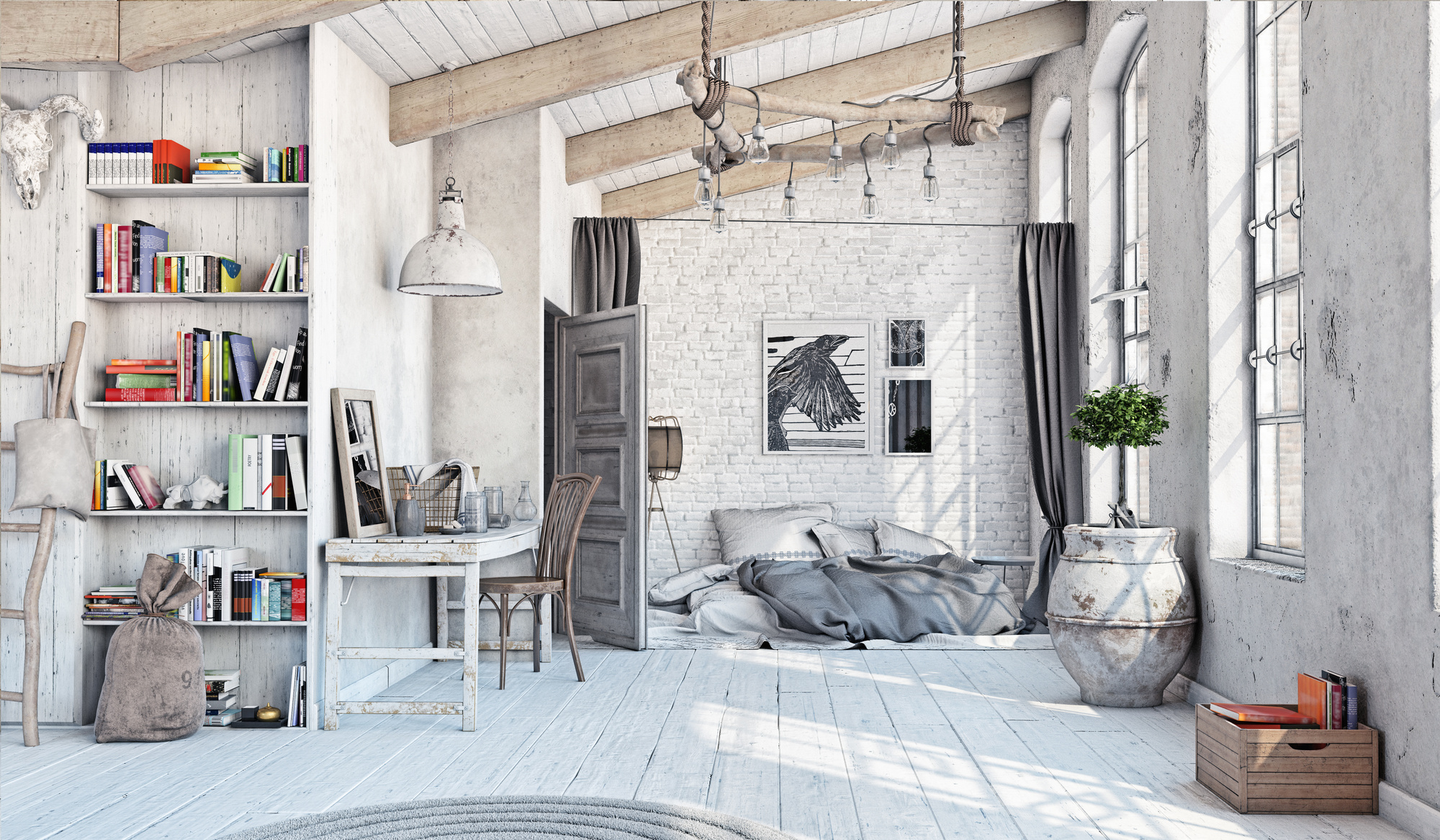 scandinavian style interior bedroom attic 3d rendering love that perfectly unkempt shabby chic - Shabby Chic Rooms Photos