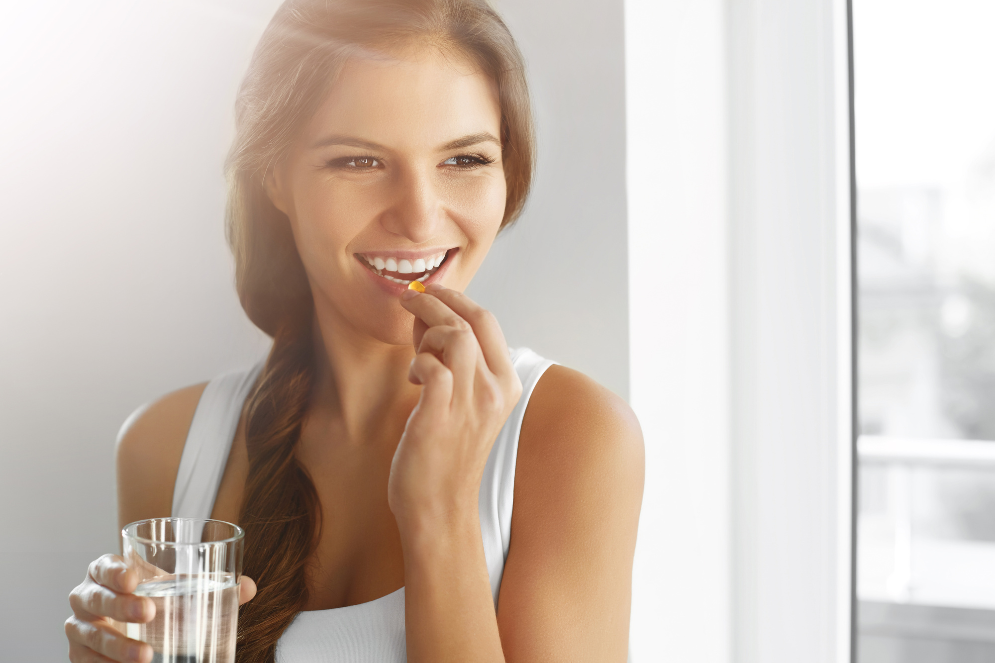 Healthy Diet. Nutrition. Vitamins. Healthy Eating, Lifestyle. Woman With  Fish Oil Capsules. - Addicted To All Things Pretty
